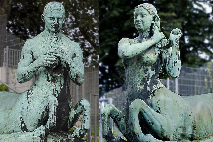 Hamburg Stadtpark Skulpturen Zentauren Triton und Nereide